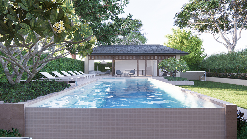 the view across the pool to the pool house