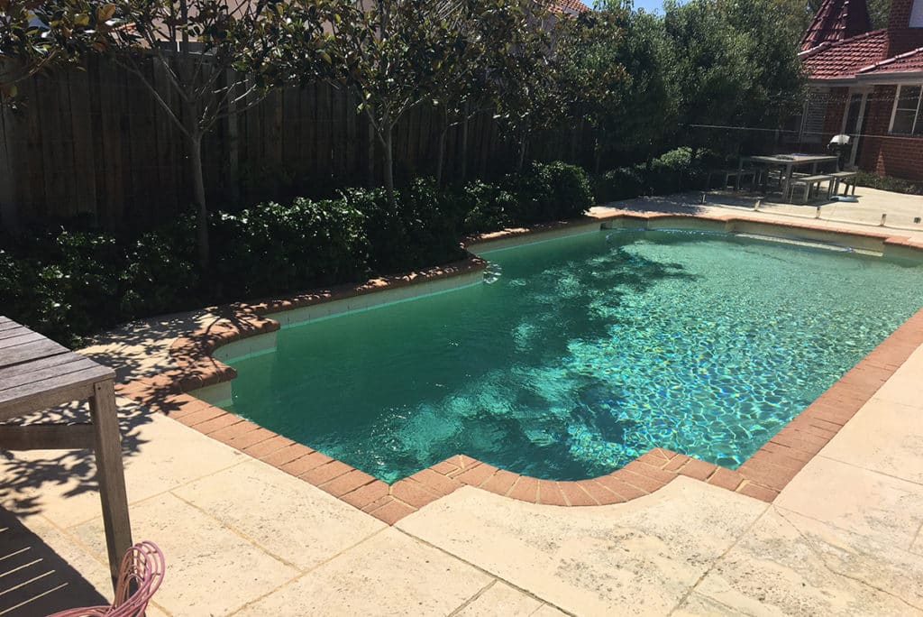 A before photo of the pool and surrounding areas.