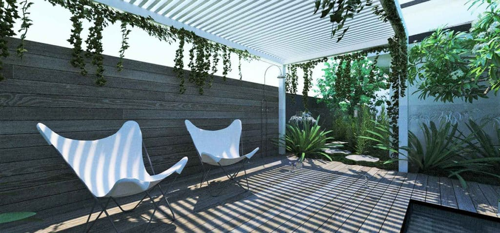 the shaded pool lounge area