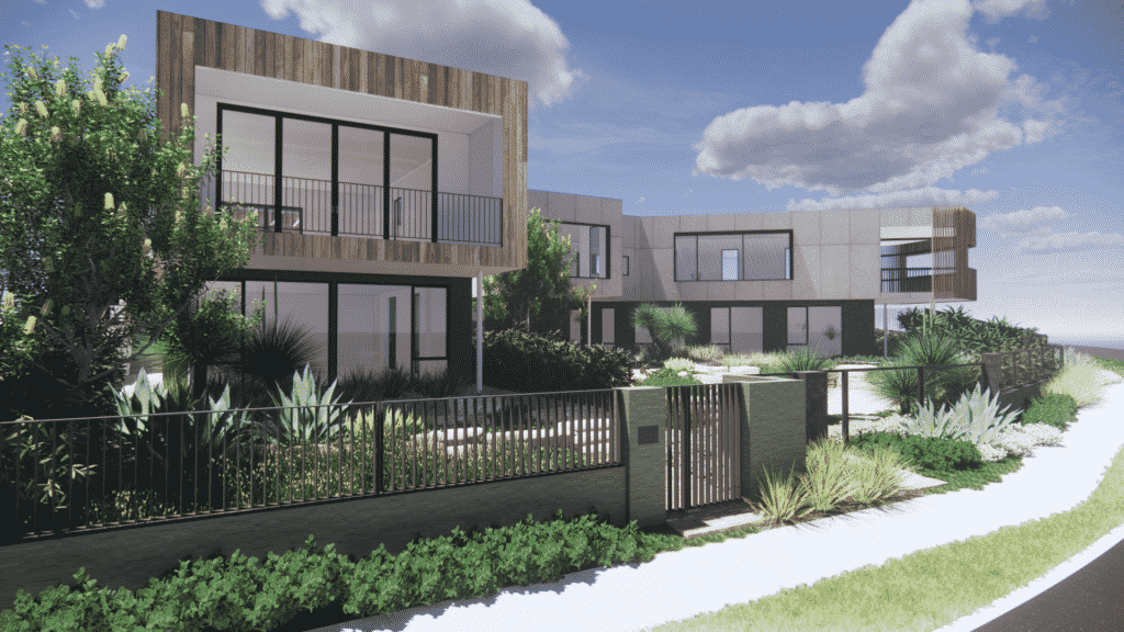 a landscape design render of a hardy landscape around two contemporary residences