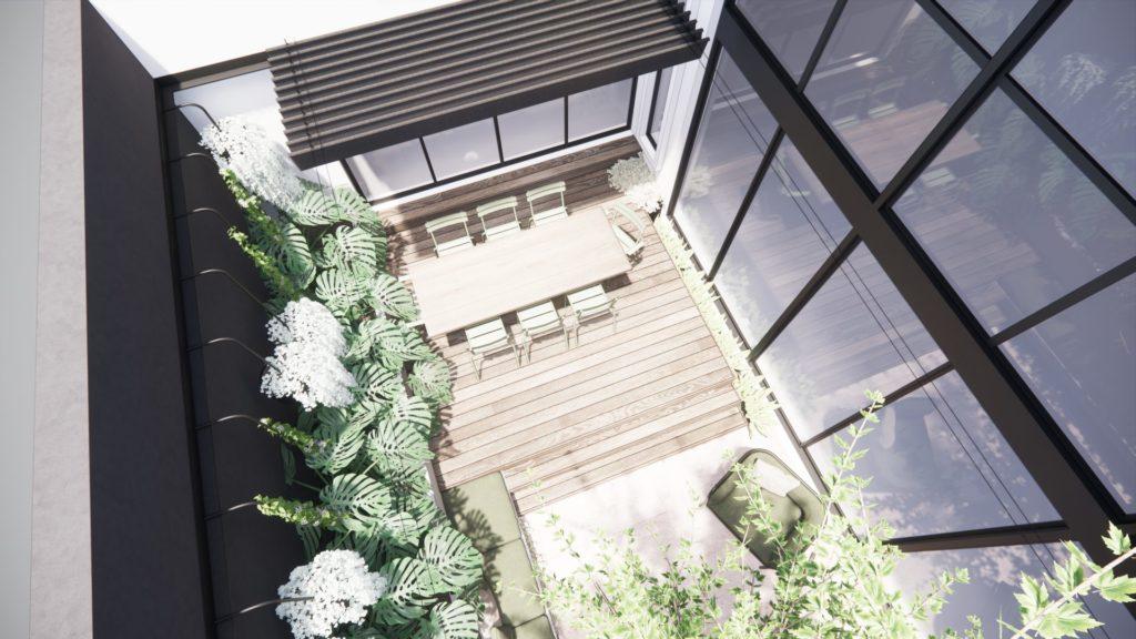 A birds eye view of the courtyard landscape design