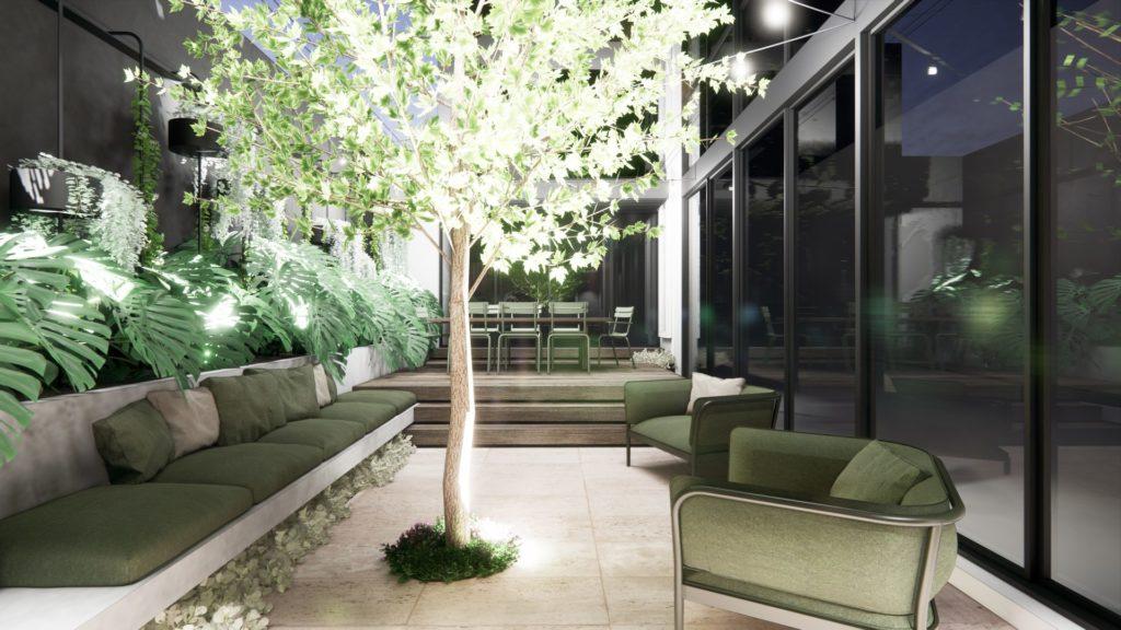 lighting design in courtyard landscape design render