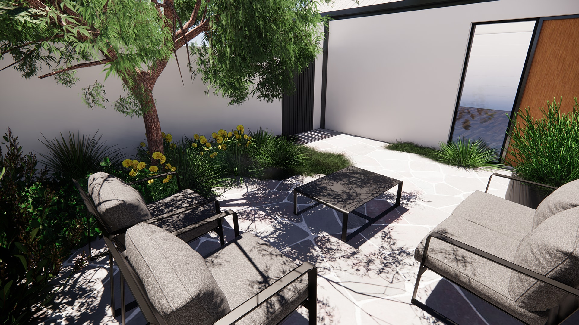 A relaxed, coastal landscape design, front courtyard
