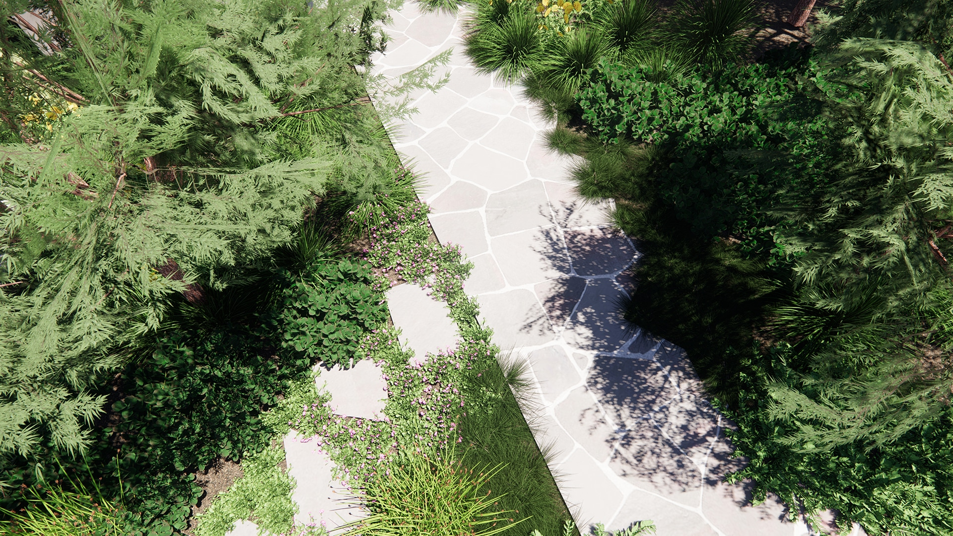 A relaxed, coastal landscape design, front yard and paving