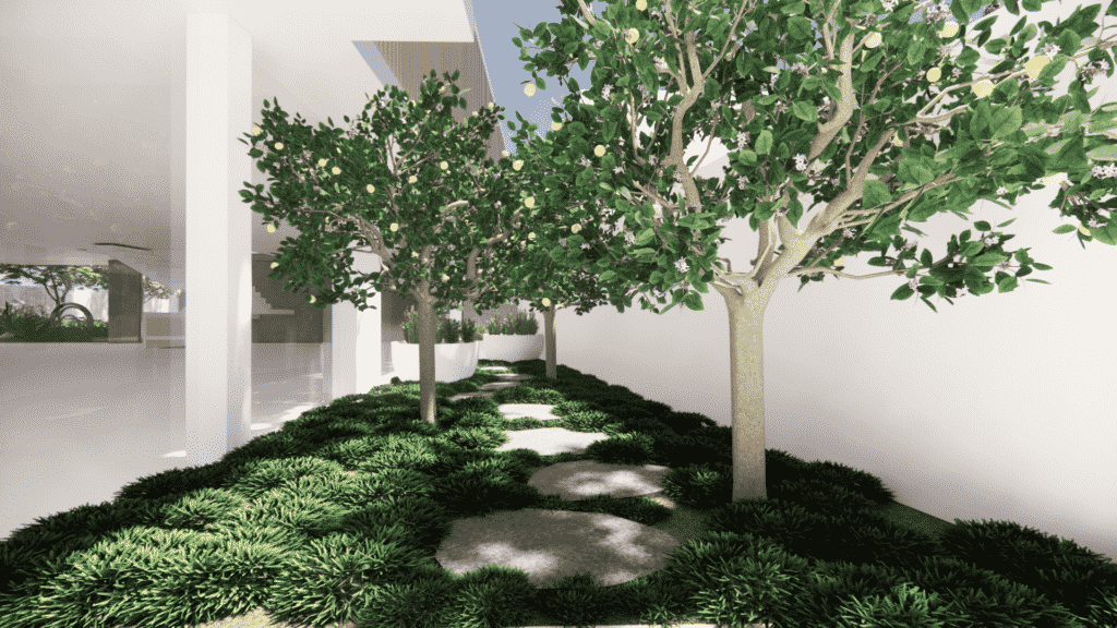 A landscape design render showing a stepping pathway through trees and groundcover.