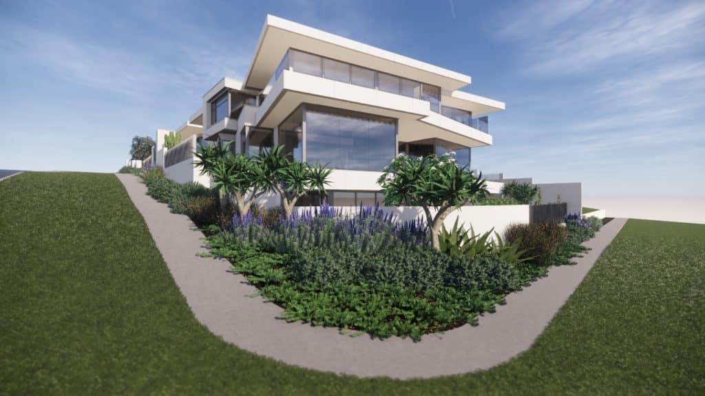 a coastal corner block landscape design