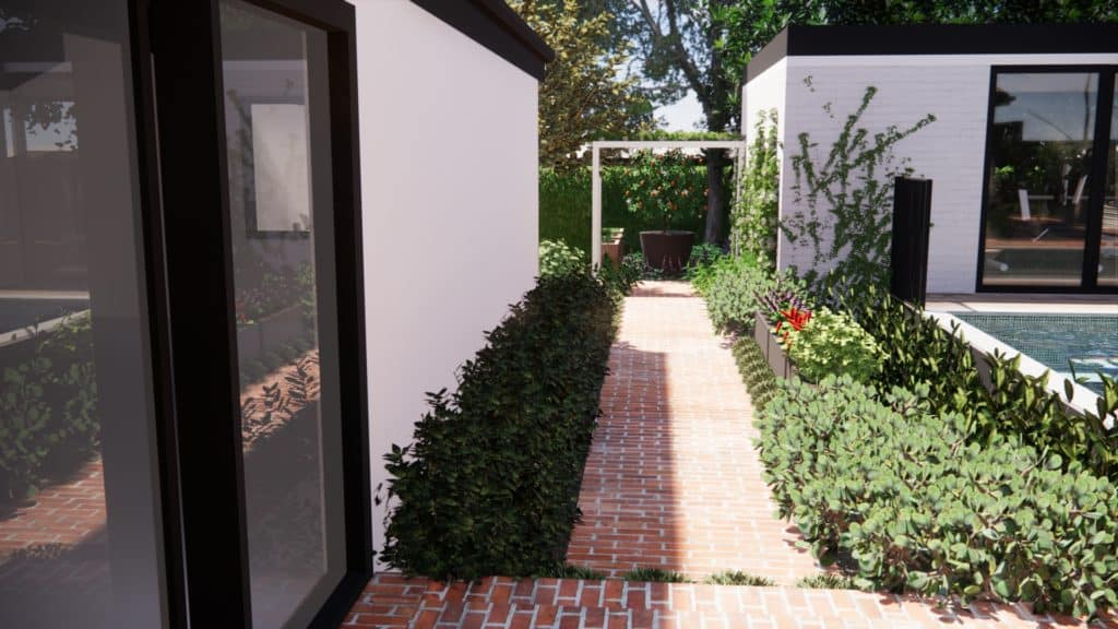 A planted moat and recycled brick pathway run alongside the home and pool.